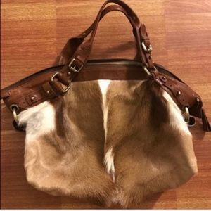 Handbags - 👜 NEW brown leather and pony hair tan & white bag